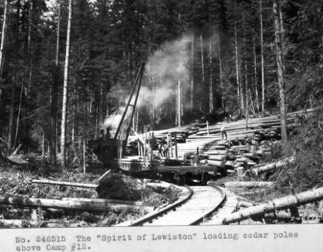 &#34;The 'Spirit of Lewiston' loading cedar poles above Camp 12.&#34;<br&gt;136