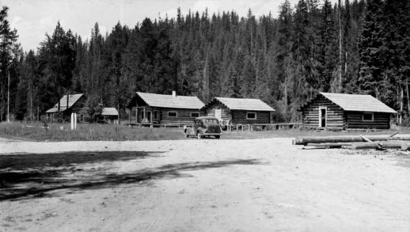 Powell Ranger Station: L-R Cookhouse, Bunkhouse, Warehouse<br />Powell Ranger Station: L-R Cookhouse, Bunkhouse, Warehouse, Photographer Unknown, 1936