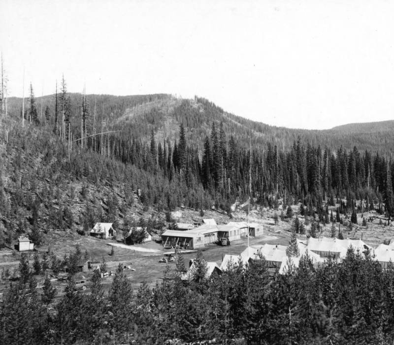 CCC Civilian Conservation Corps. camp F-23 at Packers Meadows, Selway Forest, Idaho<br />CCC Civilian Conservation Corps. camp F-23 at Packers Meadows, Selway Forest, Idaho , Swan, K. D. , 1933-09-01