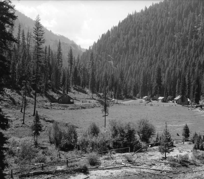 Deep Creek Ranger Station, Deep Creek, Bitterroot National Forest, Idaho<br />Deep Creek Ranger Station, Deep Creek, Bitterroot National Forest, Idaho, Swan, K.D., 1938