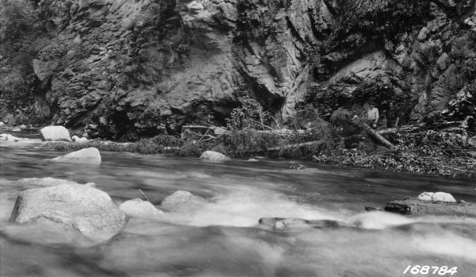 Granite cliff on the Selway River<br />Granite cliff on the Selway River, Flint, Howard, 1922-08-01