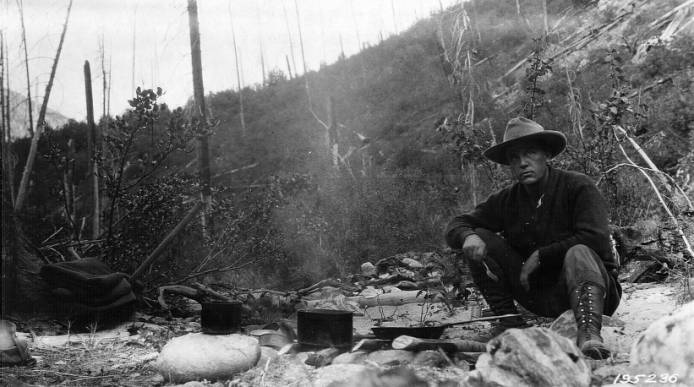An Idaho forest ranger at breakfast, Selway National Forest<br />An Idaho forest ranger at breakfast, Selway National Forest, Jefferson, F. J., 1925