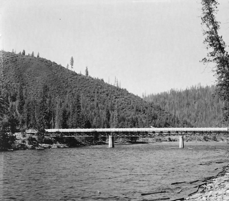 Bridge across Lochsa River below Pete King Ranger Station, Selway National Forest<br />Bridge across Lochsa River below Pete King Ranger Station, Selway National Forest, Swan, K. D., 1925