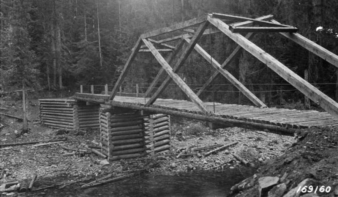 Pack bridge over White Sand Creek, Selway National Forest<br />Pack bridge over White Sand Creek, Selway National Forest, Beatty, D. L., 1922