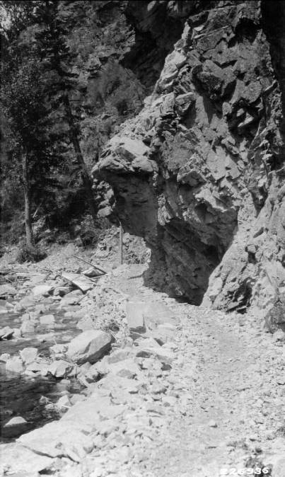 Half tunnel, Selway River Trail, Bitterroot National Forest<br />Half tunnel, Selway River Trail, Bitterroot National Forest, Adams, A.C., 1928