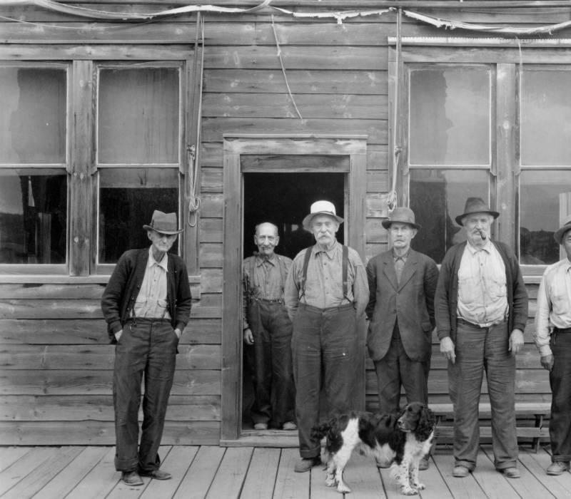 Old timers in Elk City, Nezperce National Forest<br />Old timers in Elk City, Nezperce National Forest, Swan, K. D., 1938-08-01