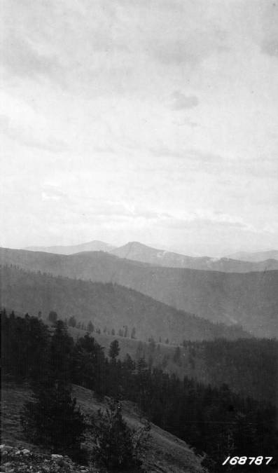 Castle Rock as seen  from Nez Perce Peak, Salmon Mountain District<br />Castle Rock as seen  from Nez Perce Peak, Salmon Mountain District, Flint, Howard, 1922