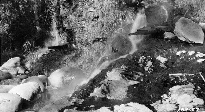 Hot Springs on Warm Spring Creek, Powell Ranger District, Selway National Forest<br />Hot Springs on Warm Spring Creek, Powell Ranger District, Selway National Forest, Beatty, D. L., 1922