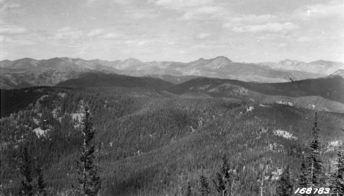 View from the Steep Hill Trail, El Capitan in center, Salmon Mountain District<br />View from the Steep Hill Trail, El Capitan in center, Salmon Mountain District, Flint, Howard, 1922