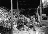 Men resting near wood pile, captioned