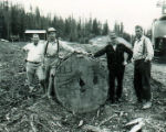 Don Profitt, Bob Allen, Robert Hohnstein, and Bob Tondevold next to log.