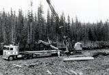 Mobile crane loading logs on railcar from flatbed trailer. Camp 61.