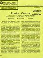 Erosion control: an issue in American farm policy