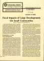 Fiscal impacts of large developments on small communities