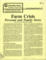 Farm crisis: personal and family stress