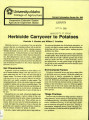 Herbicide carryover to potatoes
