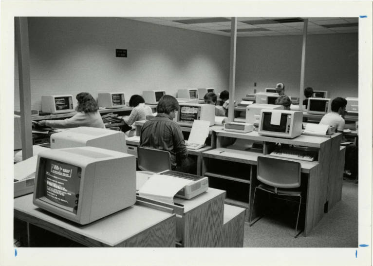 Students working in a computer lab, 1984