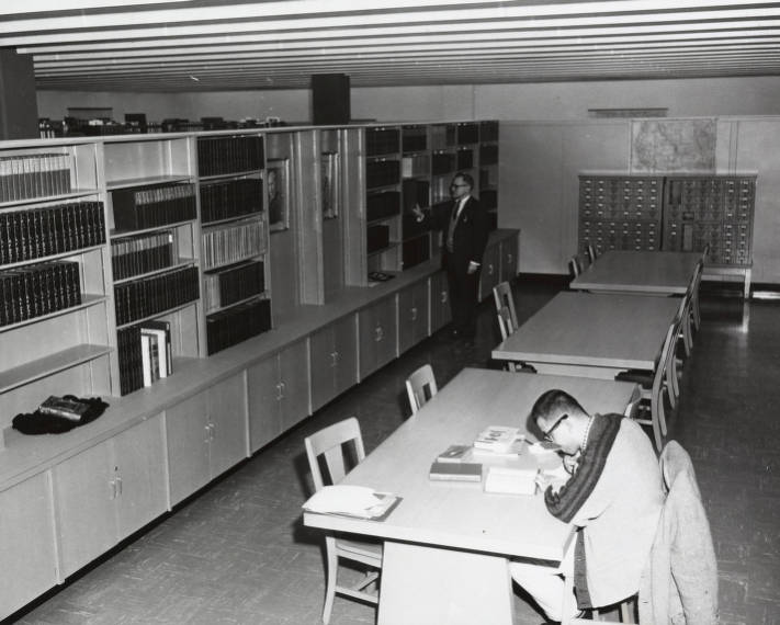 Student studying in Special Collections area, 1962