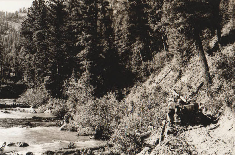 item thumbnail for Forest road construction and camp scenes from Arrow Rock Dam to Atlanta, Idaho