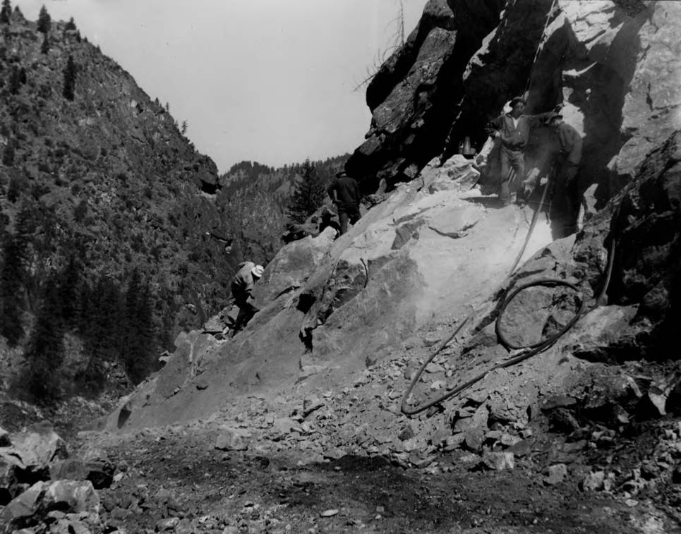 item thumbnail for Heavy rock work on Salmon River Road, constructed by CCC