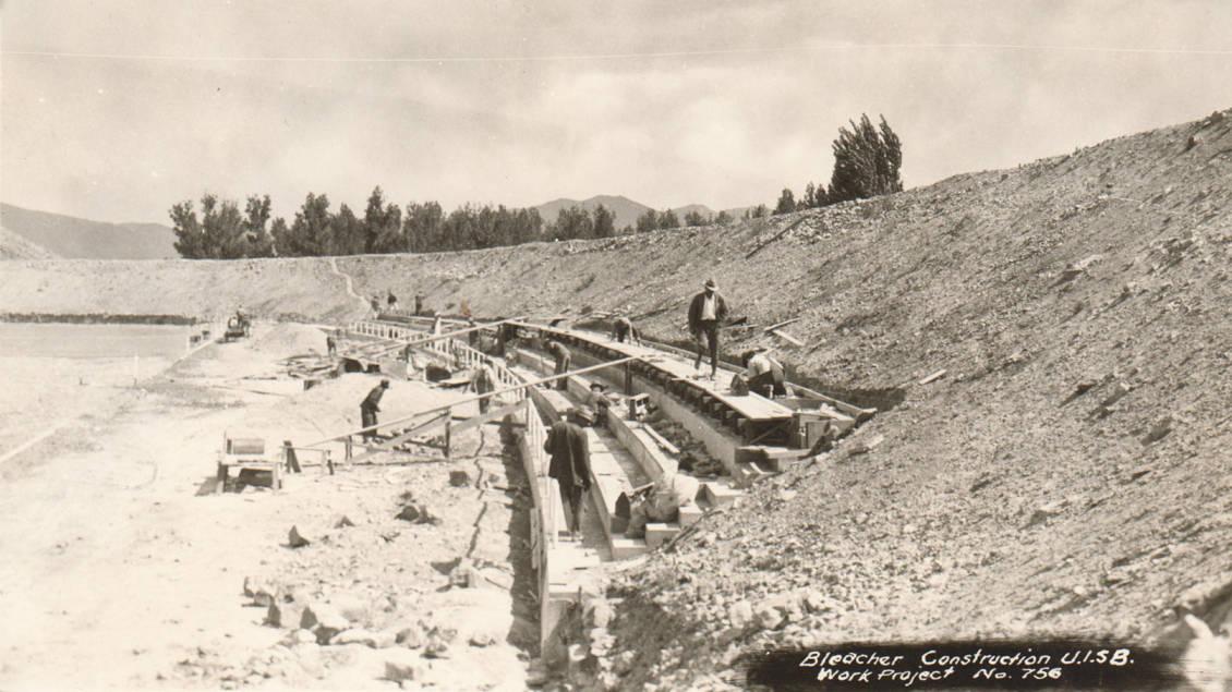 item thumbnail for Stadium construction of bleachers by WPA at University of Idaho - Pocatello Campus