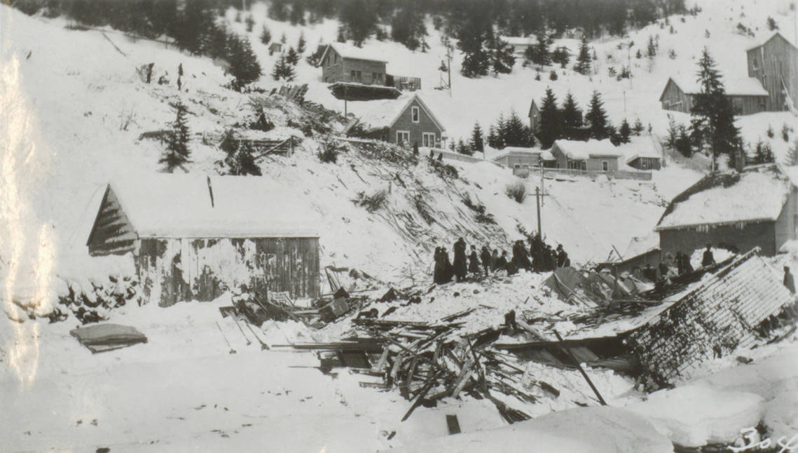 item thumbnail for Houses destroyed by avalanche, Burke and Mace