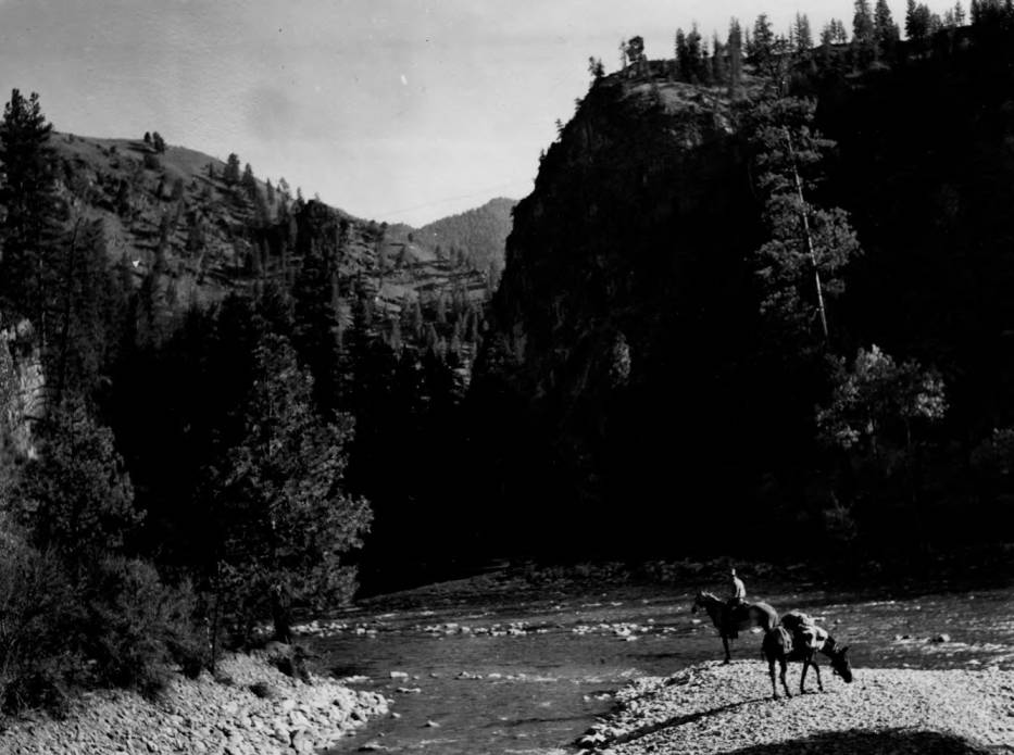 item thumbnail for Rider and pack at junction of Marble Creek and the Middle Fork of the Salmon River