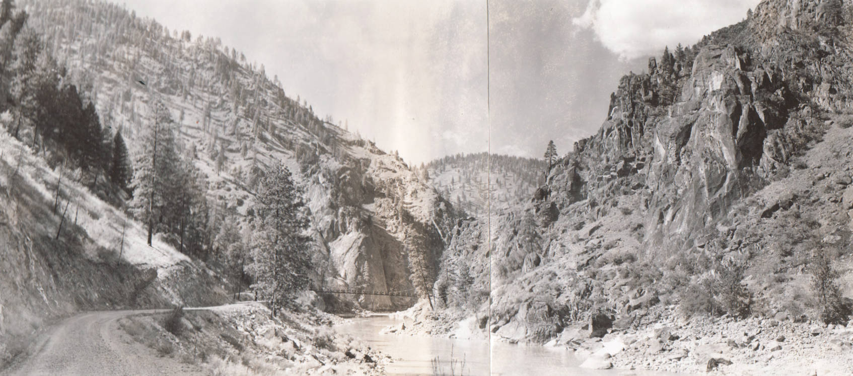 item thumbnail for Crevice Dam site and bridge, looking downstream, Salmon River