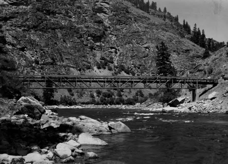 item thumbnail for Trail bridge across Middle Fork of Salmon River at mouth of Big Creek