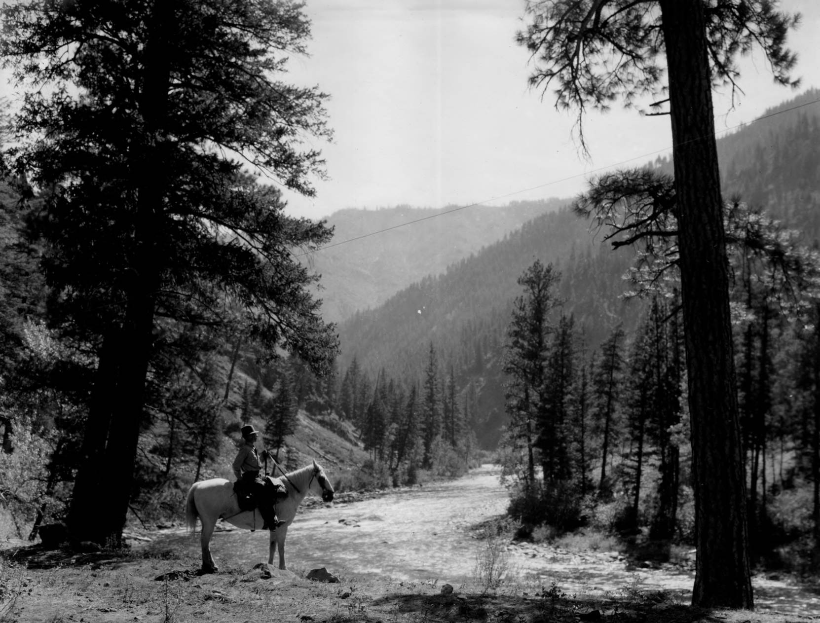 item thumbnail for Mounted forest patrol looks across Middle Fork of Salmon River