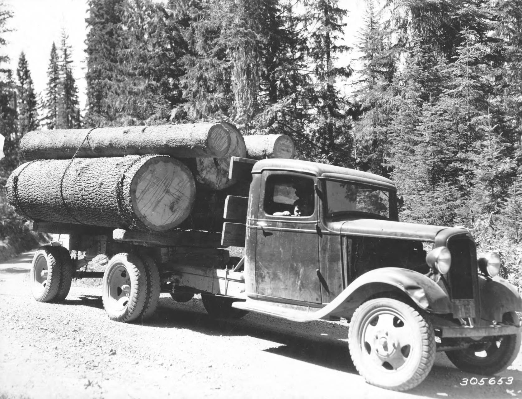 item thumbnail for Loaded timber truck on Musselshell Road
