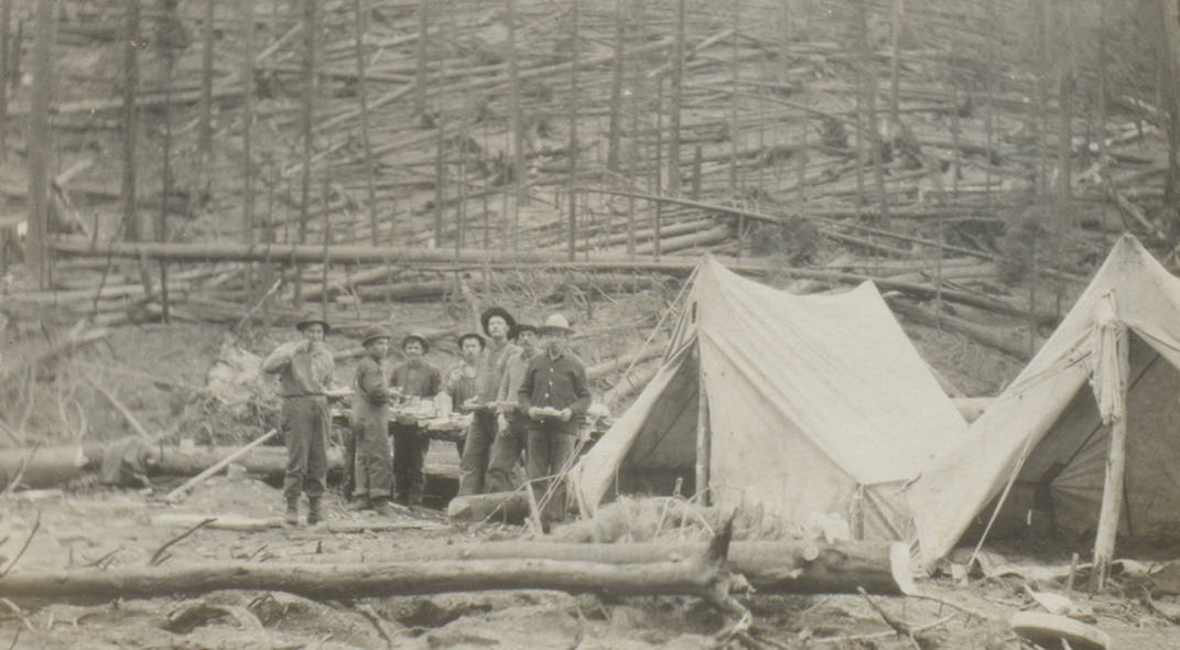 item thumbnail for Trail crew and tents on burn site