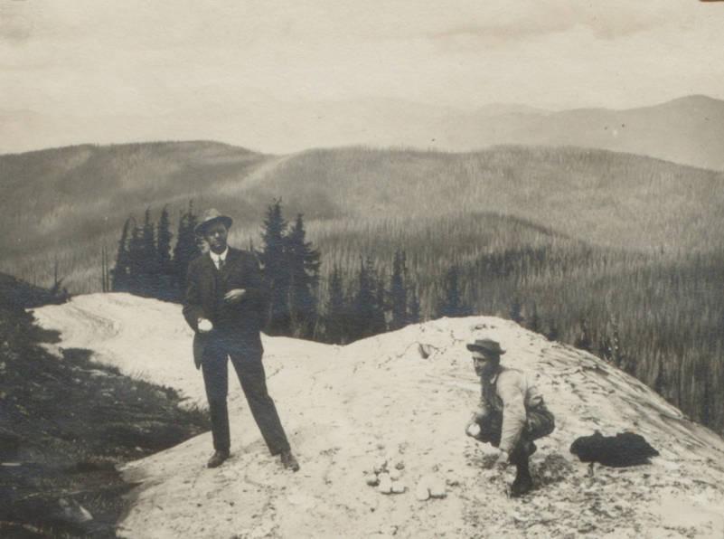 item thumbnail for Two men pose on Striped Peak