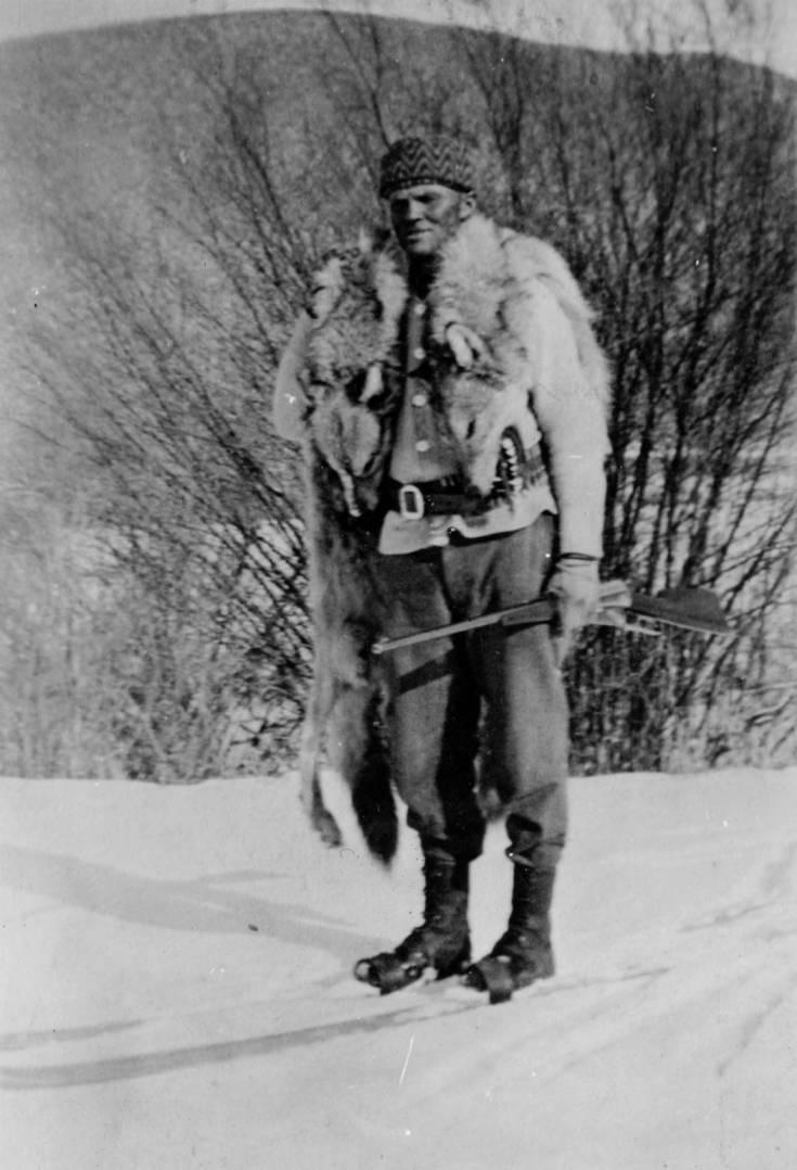 item thumbnail for William E. Cozzers, predatory animal hunter in winter