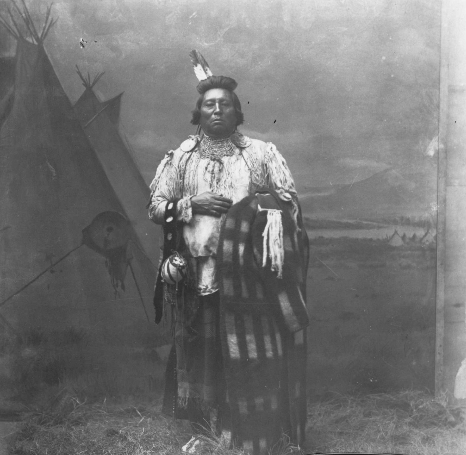 item thumbnail for Chief Wolf Necklace in regalia and blanket, studio glass negative