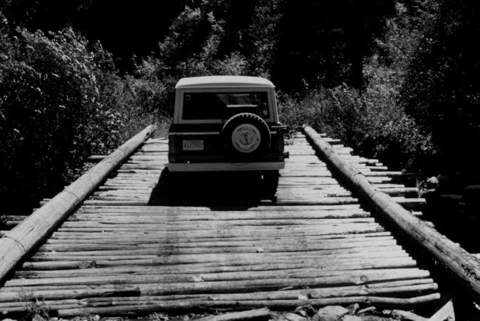 item thumbnail for Crossing log bridge at Big Creek