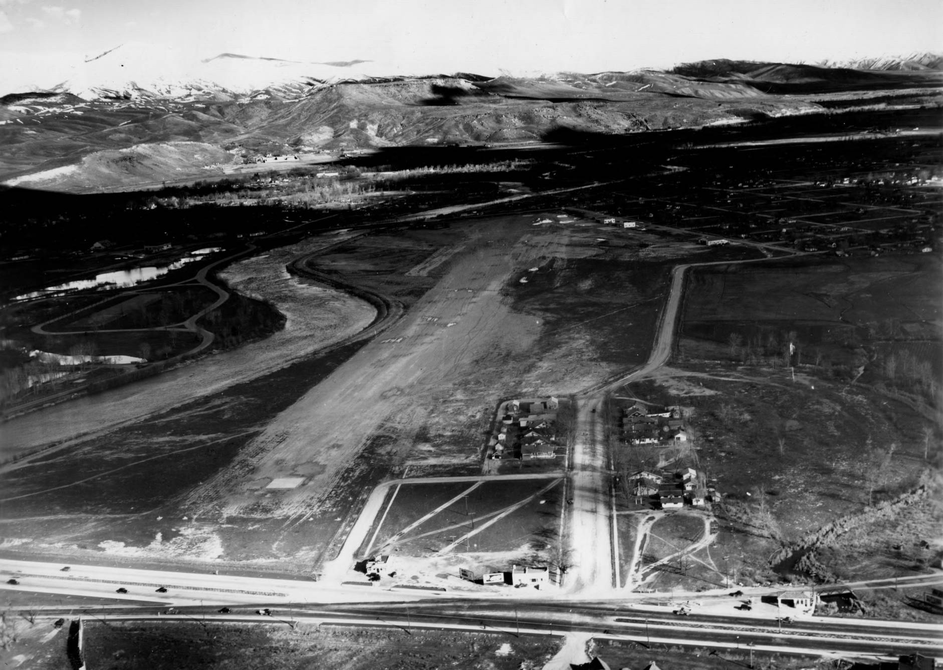 item thumbnail for Boise Airport airstrips, runways, and buildings, wide aerial