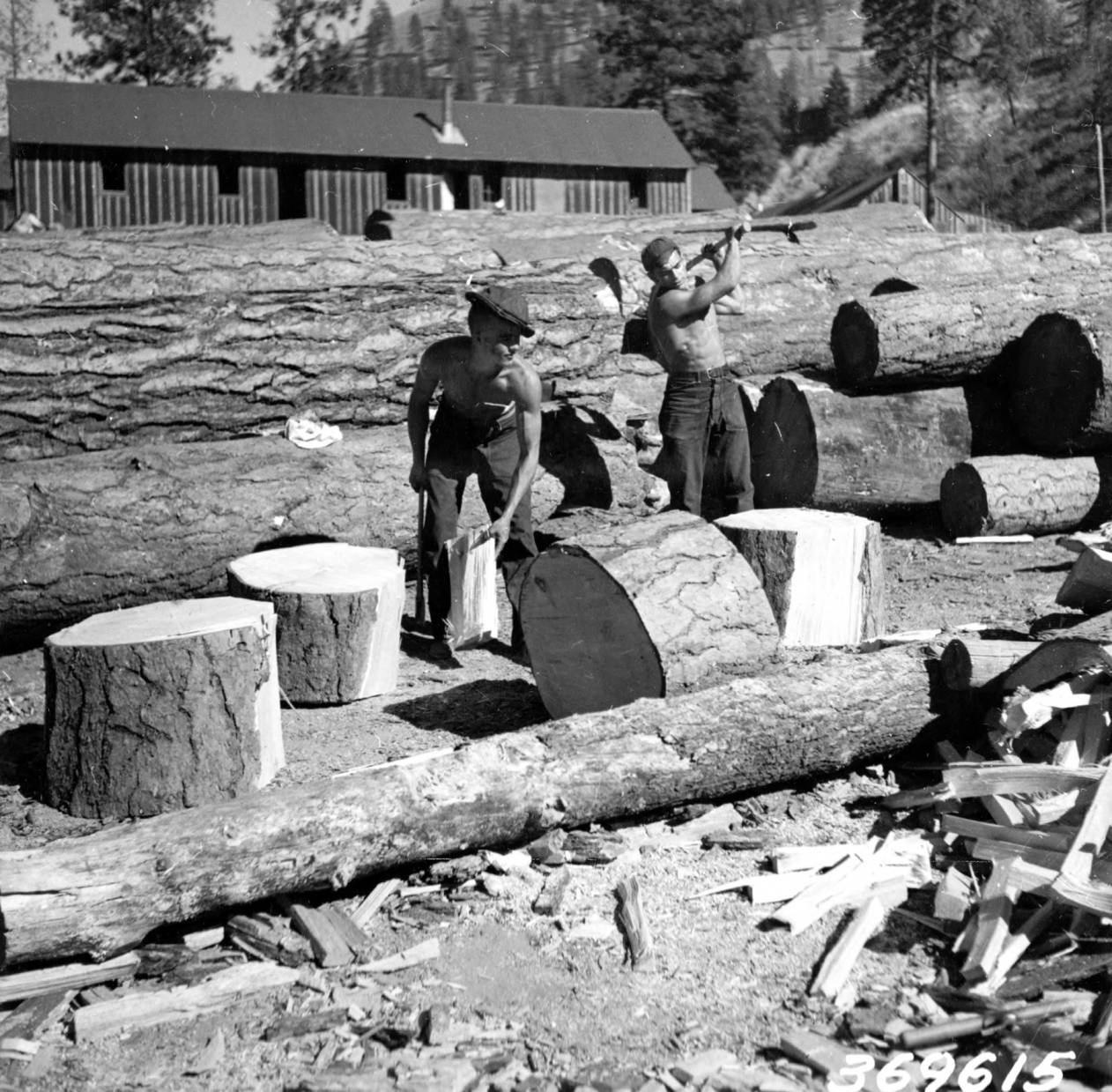 item thumbnail for CCC French Camp, chopping wood