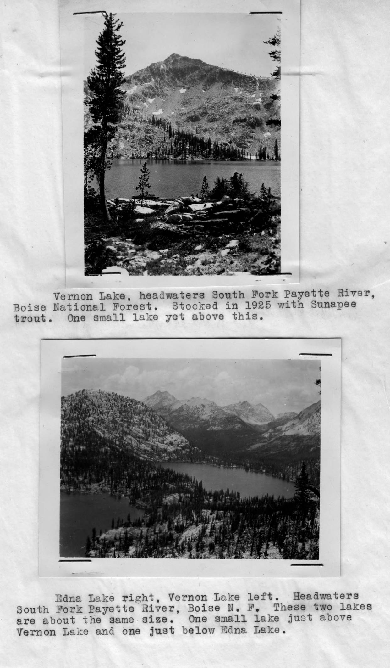 item thumbnail for Vernon and Edna Lakes in former Boise National Forest