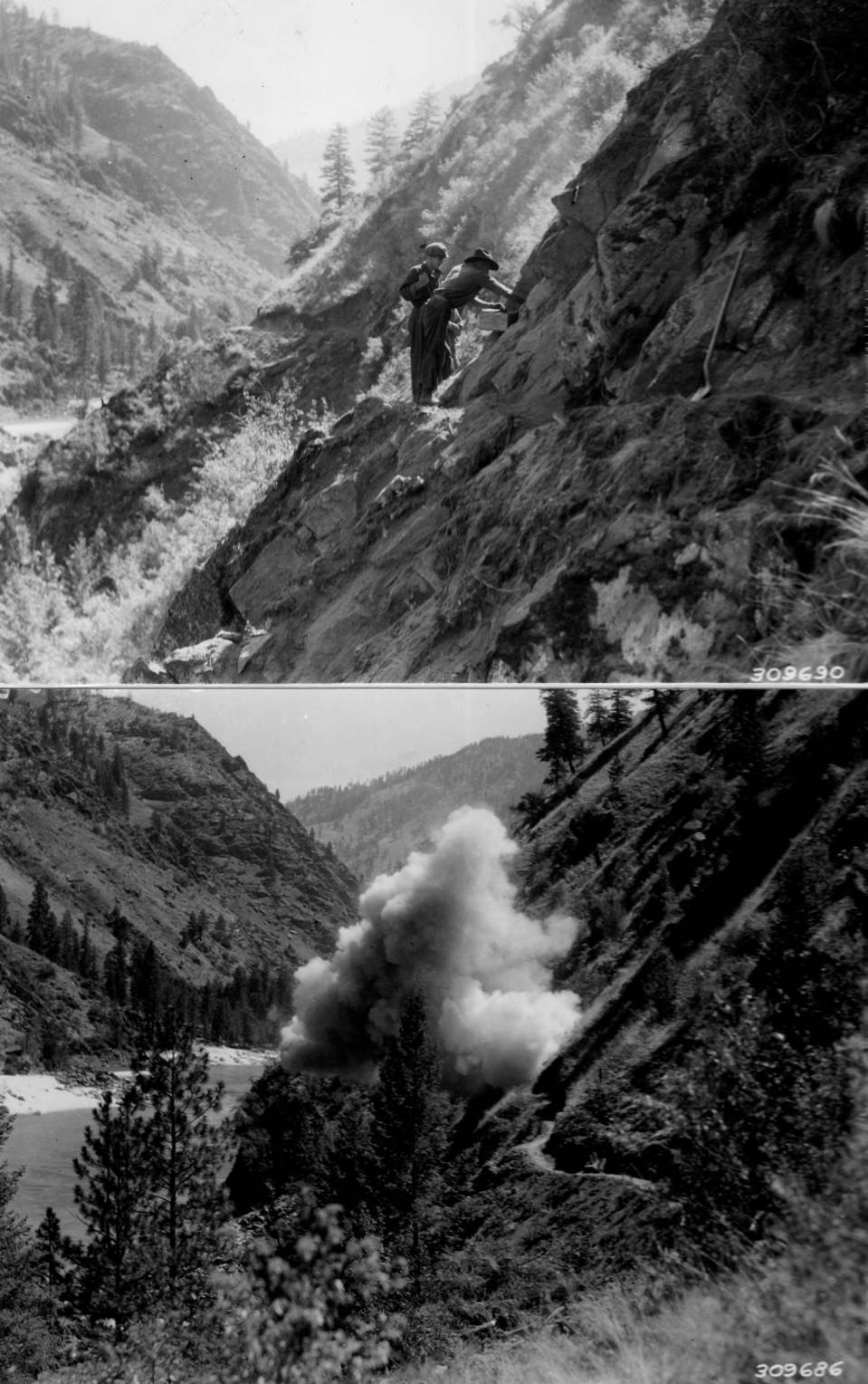item thumbnail for CCC blasting and road construction on Salmon River above French Creek