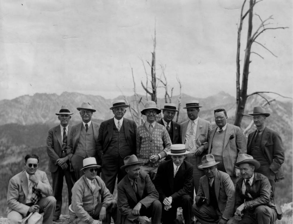 item thumbnail for Party of Union Pacific officials, Idaho State Chamber of Commerce, and Forest Service officials on Feldham [Feltham] Peak