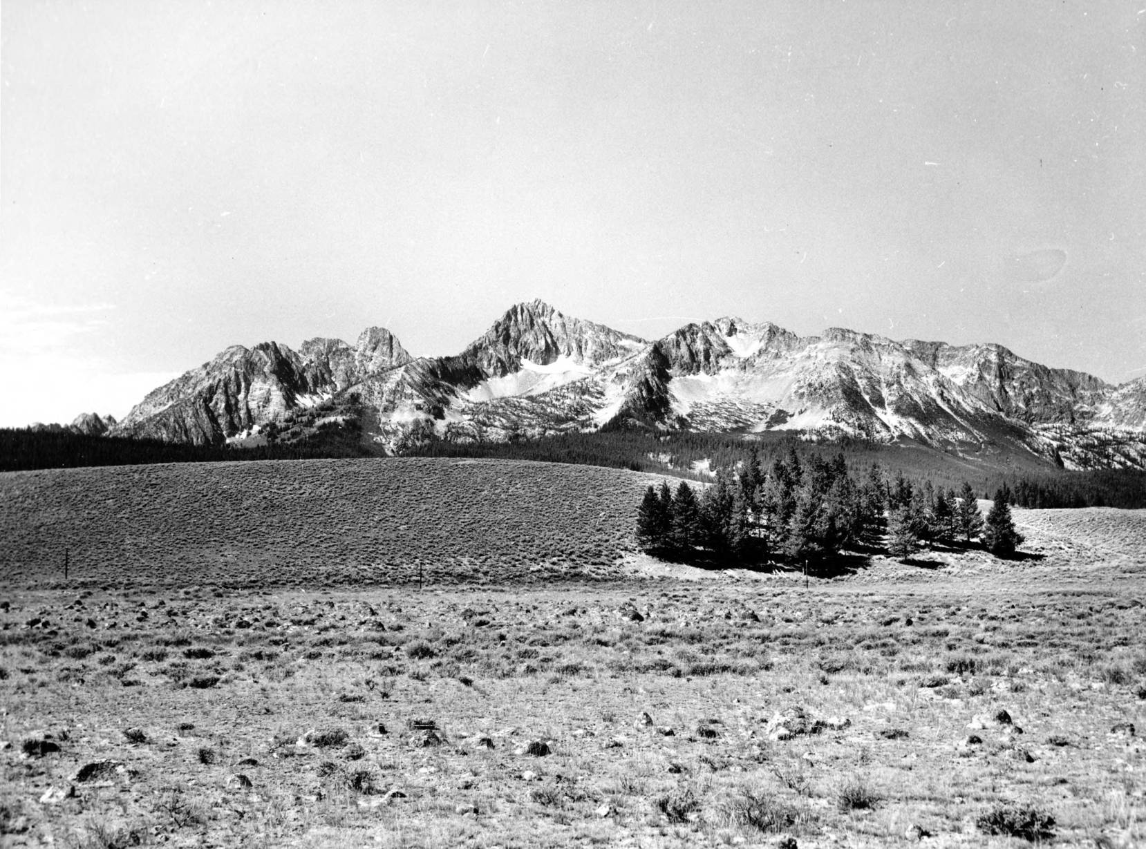 item thumbnail for Route 21, 3 miles south of Stanley, Sawtooth Range in background