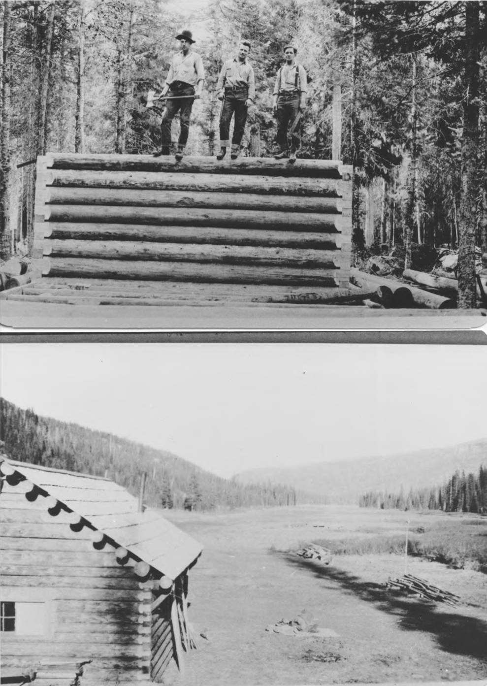 item thumbnail for Men stand on log cabin wall and cabin at Fish Lake