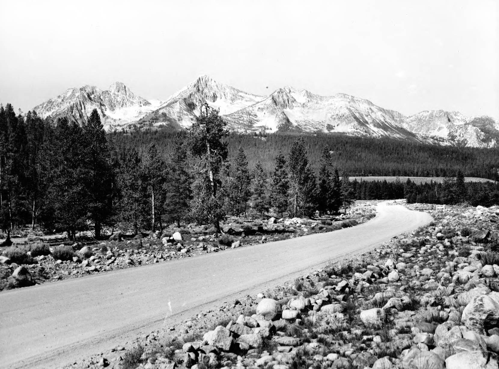 item thumbnail for Route 21, 4 miles north of Stanley, Sawtooth Range in background