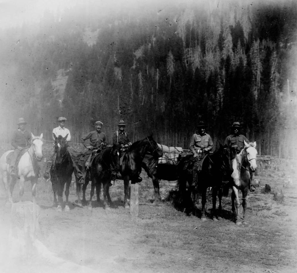 item thumbnail for Big Creek Headquarters, men on horses