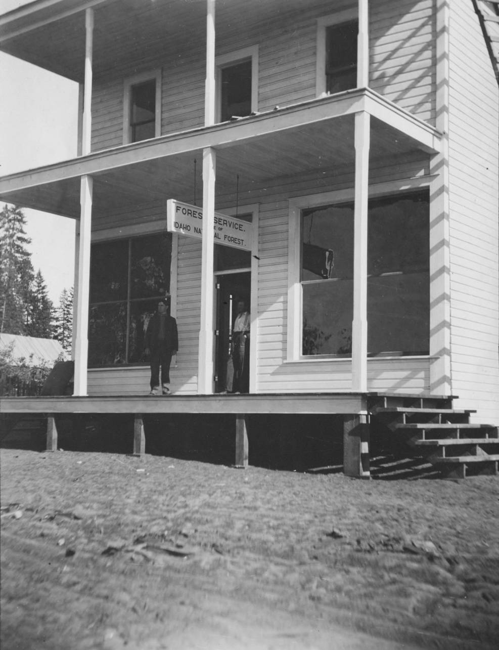 item thumbnail for Exterior of Forest Service Office at McCall, man stands outside