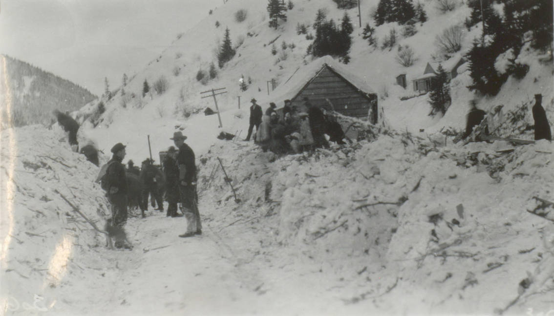 item thumbnail for E. Pulaski, J. Halm, and others in snow-covered Burke Canyon