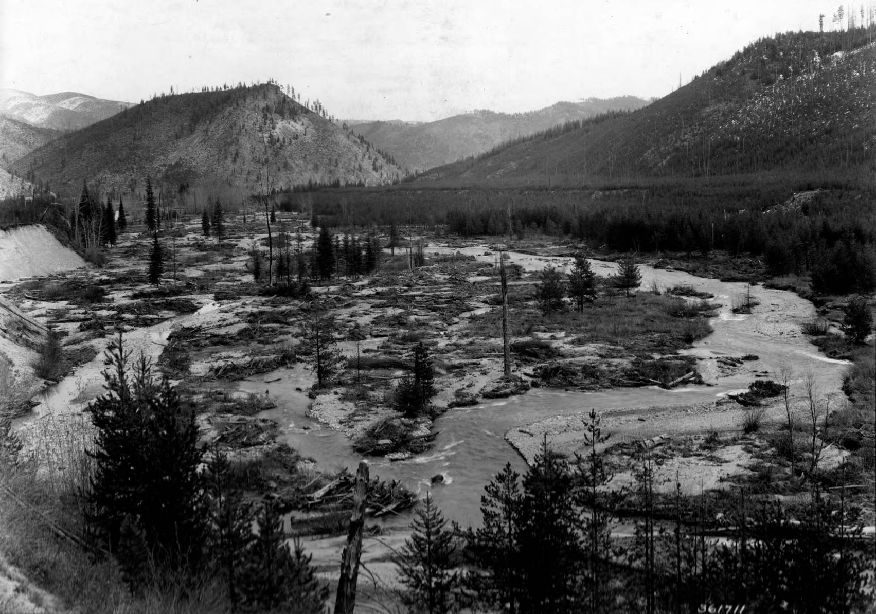 item thumbnail for Flood Damage related to 1910 fire, Big Creek Valley