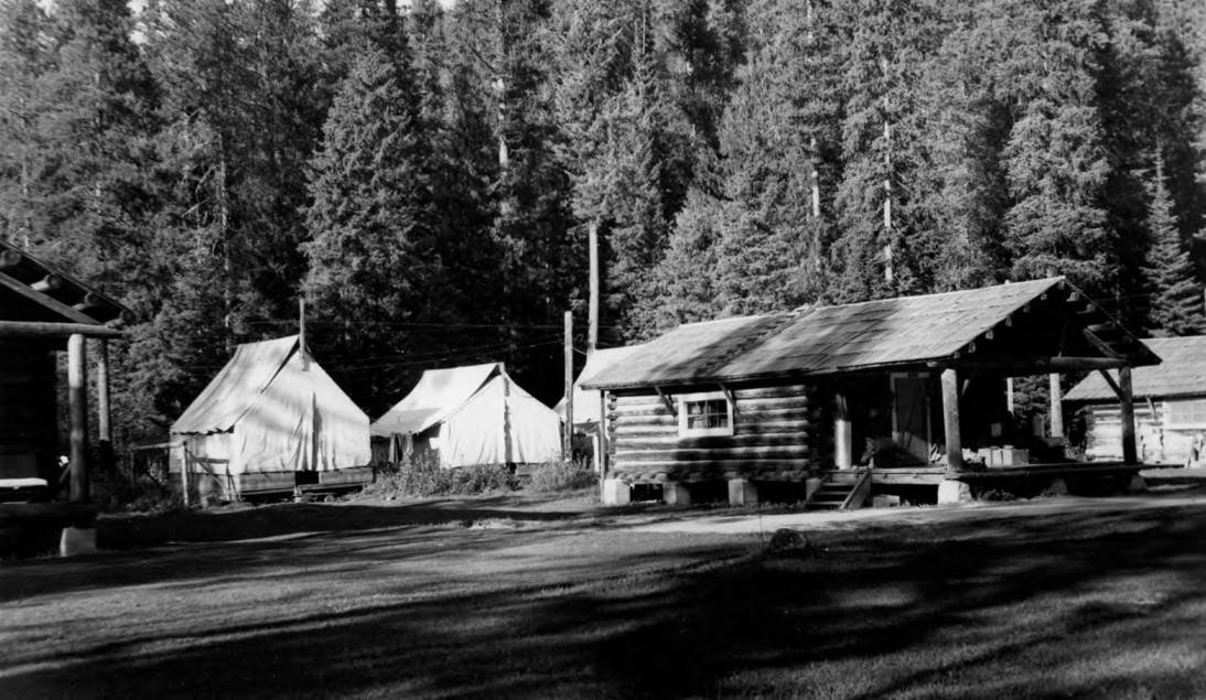 item thumbnail for Powell Ranger Station, log cabin and tents