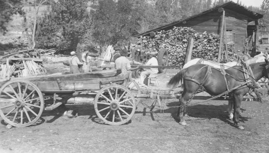 item thumbnail for Wood wagon and horses